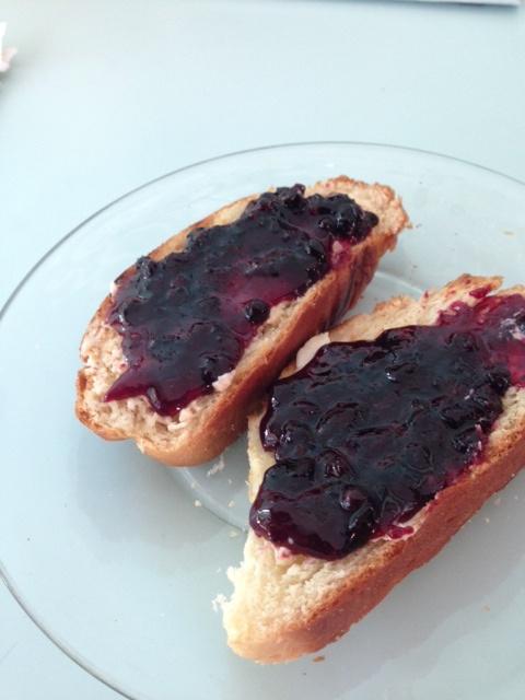 Crushed Blueberries on Fresh Toast